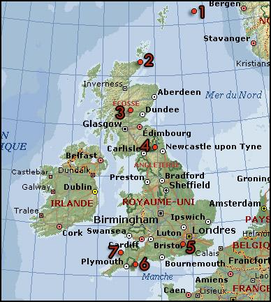 Carte de la Grande-Bretagne tirée de Collection Microsoft Encarta 2005
