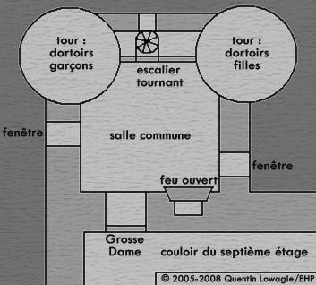 Carte de la Tour Gryffondor, dans les films © 2005-2008 Quentin Lowagie/EHP
