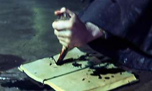 Harry détruisant le journal intime dans CS/f