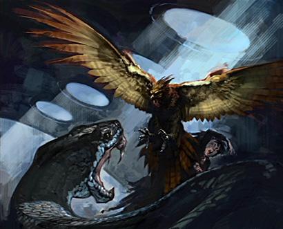 Fumseck attaquant le Basilic