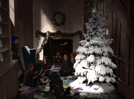 Dessin de Noël dans la cuisine du 12, square Grimmaurd par Adam Brockbank