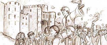 Fan art de Ron porté par Gryffondor après leur victoire au Quidditch