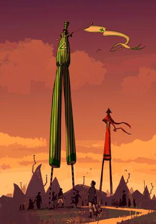 Géants sur le camping de la Coupe du Monde de Quidditch (projet pour CF/f) par Adam Brockbank