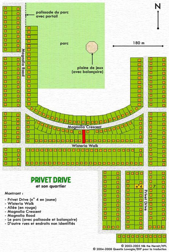 Vue aérienne du voisinage de Privet Drive