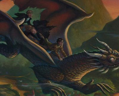 H-H-R sur le dragon aveugle par Mary GrandPré, © Warner Bros.
