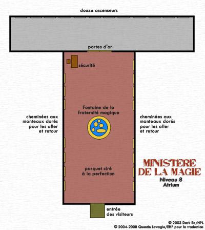Carte du Niveau 8 du ministère de la Magie : l'Atrium