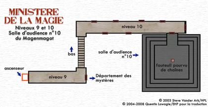 Carte du Niveau 9-10 du ministère de la Magie : salles d'audience du Magenmagot