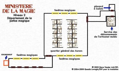 Carte du Niveau 2 du ministère de la Magie : Département de la justice magique