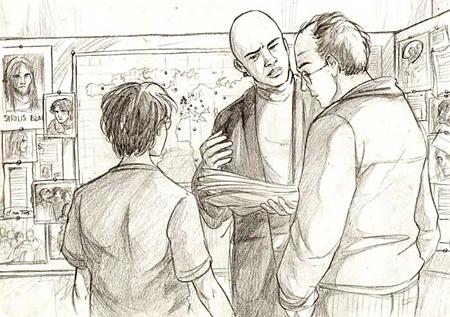 Harry, Arthur et Kingsley au quartier général des Aurors