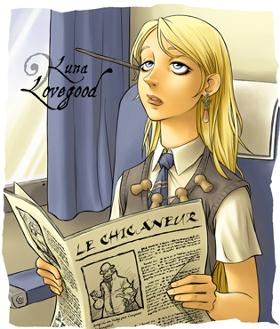 Luna Lovegood lisant Le Chicaneur