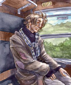 Lupin dormant dans le Poudlard Express