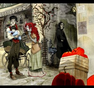 James, Lily, Harry et Rogue sur le Chemin de Traverse
