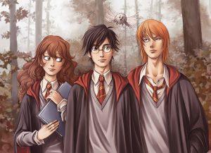 Harry, Ron, Hermione et Coq dans les bois de Poudlard