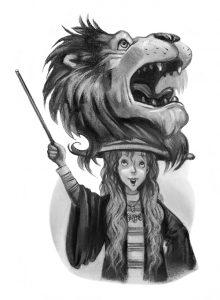Luna portant sa tête de lion rugissant par Mary GrandPré