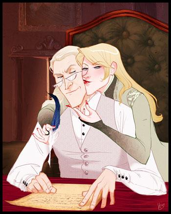 Lucius et Narcissa Malefoy dans leur manoir