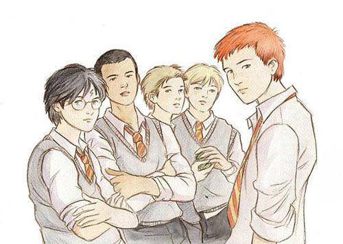 Dessin des garçons du dortoir de Harry