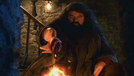 Hagrid allumant le feu avec son parapluie dans ES/f