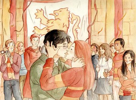Harry et Ginny s'embrassant dans la salle commune des Gryffondor