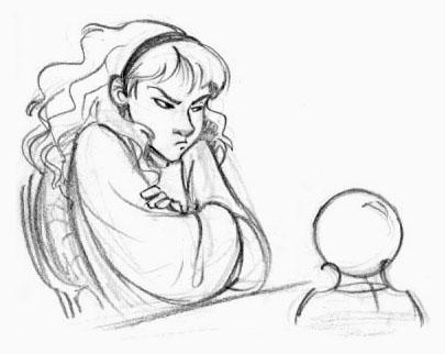Dessin d'Hermione devant une boule de cristal