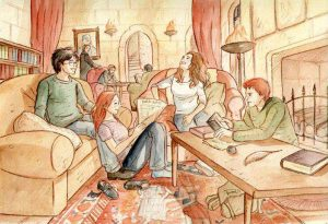 Harry, Ginny, Ron et Hermione dans la salle commune de Gryffondor