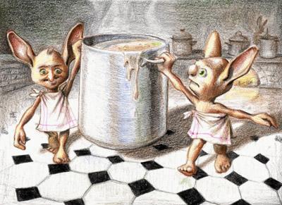 Les elfes de maison au travail dans les cuisines de Poudlard