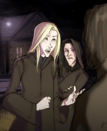Dessin de Narcissa et Bellatrix arrivant chez Rogue