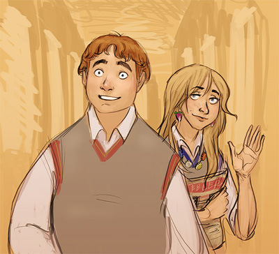 Dessin de Neville et Luna