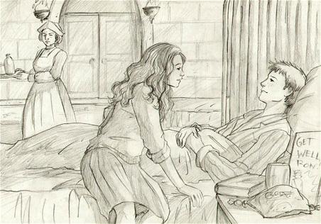 Dessin de Ron et Hermione à l'infirmerie après son empoisonnement