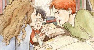 Ron et Hermione se disputant à la bibliothèque