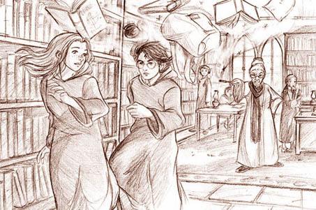 Dessin de Madame Pince jettant Harry et Ginny hors de la bibliothèque