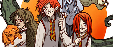 Ron, Hermione, Luna, Ginny et Pattenrond