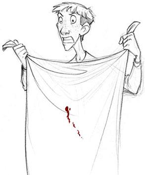 Ron montrant à Hermione le sang présumé de Croûtard sur ses draps