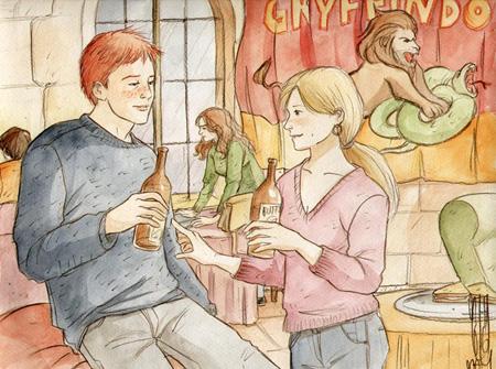 Ron et Lavande dans la salle commune de Gryffondor en octobre 1996 (avec Hermione en arrière-plan)
