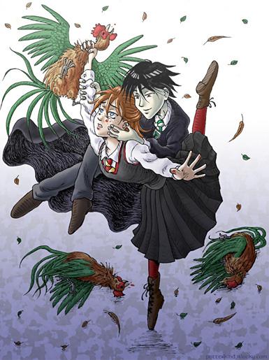 Ginny tuant les coqs de Hagrid pour Tom Jedusor