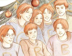 Portrait des enfants Weasley à Noël