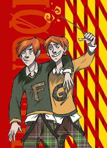 Les jumeaux avec leur pull Weasley