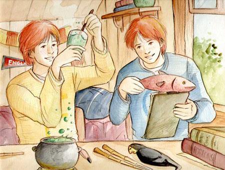 Les jumeaux Weasley mettant au point leurs farces et attrapes