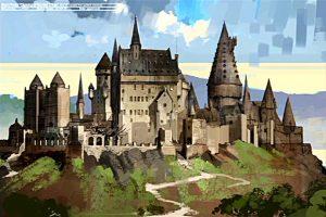Vue du château de Poudlard (projet pour CS/f) par Dermot Power