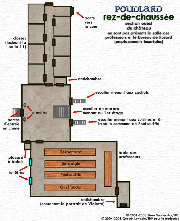 Carte du rez-de-chaussée de Poudlard