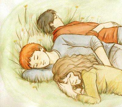 Le trio se reposant dans l'herbe