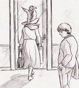 Dessin de Neville et Augusta Londubat à Ste Mangouste